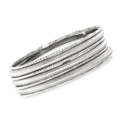 Italian Sterling Silver Jewelry Set: Seven Bangle Bracelets