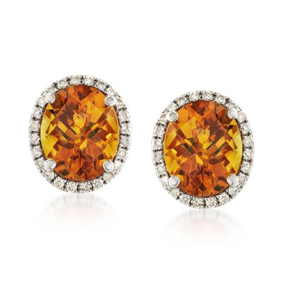 4.60 ct. t.w. Citrine and .32 ct. t.w. Diamond Oval Earrings in 14kt White Gold , , default