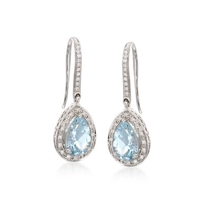 2.15 ct. t.w. Aquamarine and .15 ct. t.w. Diamond Earrings in 14kt White Gold, , default