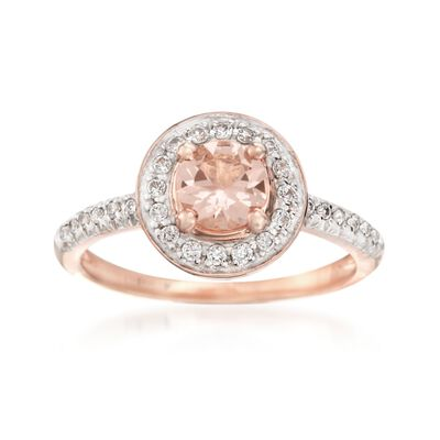 .60 Carat Morganite and .28 ct. t.w. White Zircon Halo Ring in 14kt Rose Gold Over Sterling, , default