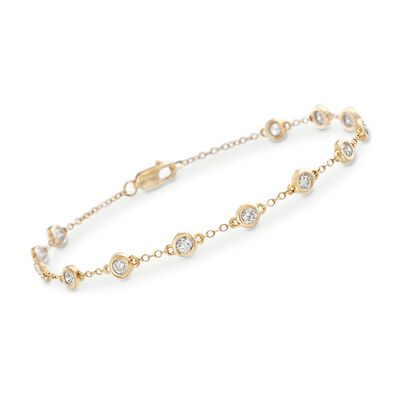 1.00 ct. t.w. Bezel-Set Diamond Station Bracelet in 14kt Yellow Gold, , default