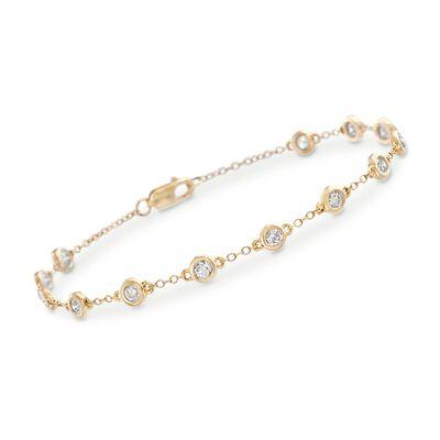 1.00 ct. t.w. Bezel-Set Diamond Station Bracelet in 14kt Yellow Gold, , default