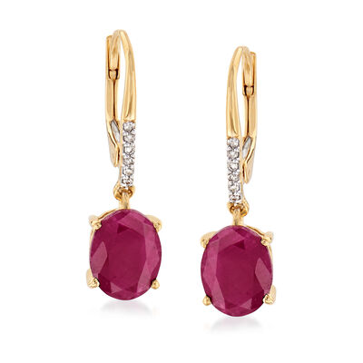 3.70 ct. t.w. Indian Ruby Drop Earrings in 18kt Gold Over Sterling with Diamond Accents, , default