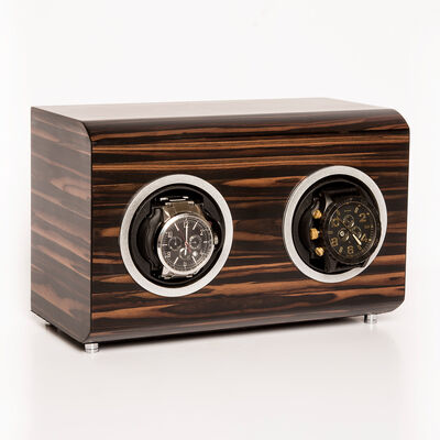 Brouk & Co. Matte Ebony Wooden 2-Watch Winder