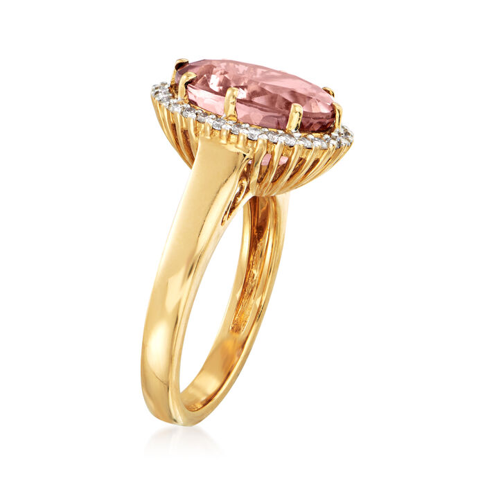 6.00 Carat Pink Tourmaline and .30 ct. t.w. Diamond Halo Ring in 18kt Yellow Gold