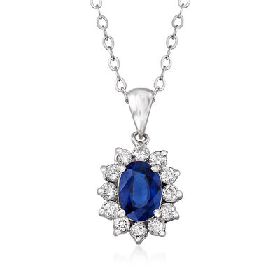 C. 1980 Vintage 1.04 Carat Sapphire and .25 ct. t.w. Diamond Frame Necklace in 14kt and 18kt White Gold, , default