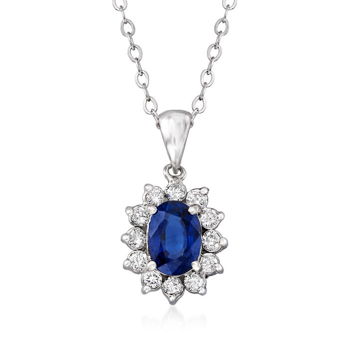 """C. 1980 Vintage 1.04 Carat Sapphire and .25 ct. t.w. Diamond Frame Necklace in 14kt and 18kt White Gold. 18"""", , default"""