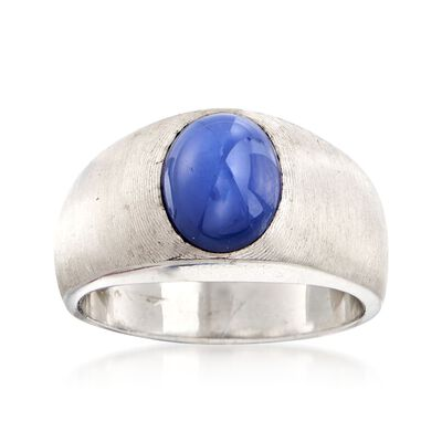 C. 1970 Vintage Bezel-Set Synthetic Sapphire Ring in 14kt White Gold, , default