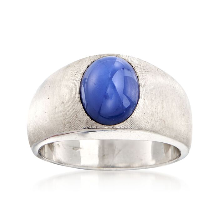 C. 1970 Vintage Bezel-Set Synthetic Sapphire Ring in 14kt White Gold. Size 8, , default