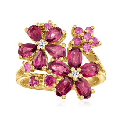 3.33 ct. t.w. Rhodolite Garnet Flower Ring with Diamond Accents in 18kt Gold Over Sterling