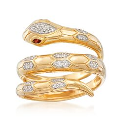.10 ct. t.w. Diamond Snake Wrap Ring With Garnet Accents in 18kt Gold Over Sterling, , default