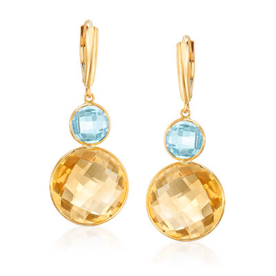 20.00 ct. t.w. Citrine and 4.00 ct. t.w. Sky Blue Topaz Drop Earrings in 14kt Yellow Gold, , default