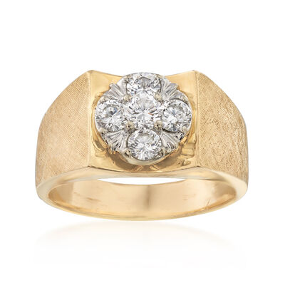 C. 1970 Vintage Men's 1.10 ct. t.w. Diamond Cluster Ring in 14kt Yellow Gold, , default
