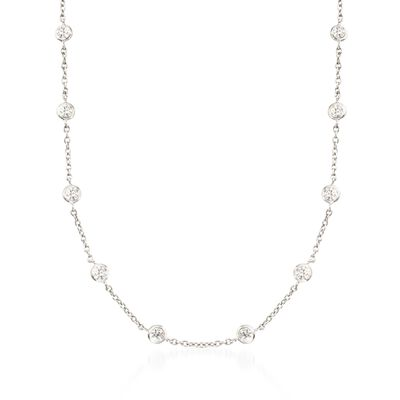 4.50 ct. t.w. Bezel-Set CZ Station Necklace in Sterling Silver, , default