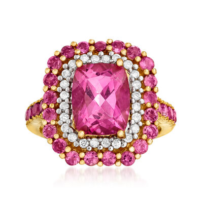 4.00 Carat Pink Topaz, 1.00 ct. t.w. Pink Tourmaline and .24 ct. t.w. Diamond Ring in 14kt Yellow Gold