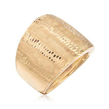 Italian 18kt Yellow Gold Diamond-Cut Ring. Size 5, , default