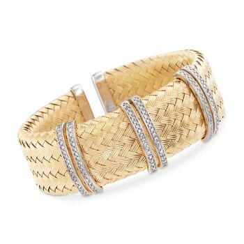 "Charles Garnier ""Glamour"" .60 ct. t.w. CZ Bar Cuff Bracelet in Two-Tone Sterling Silver. 7"", , default"