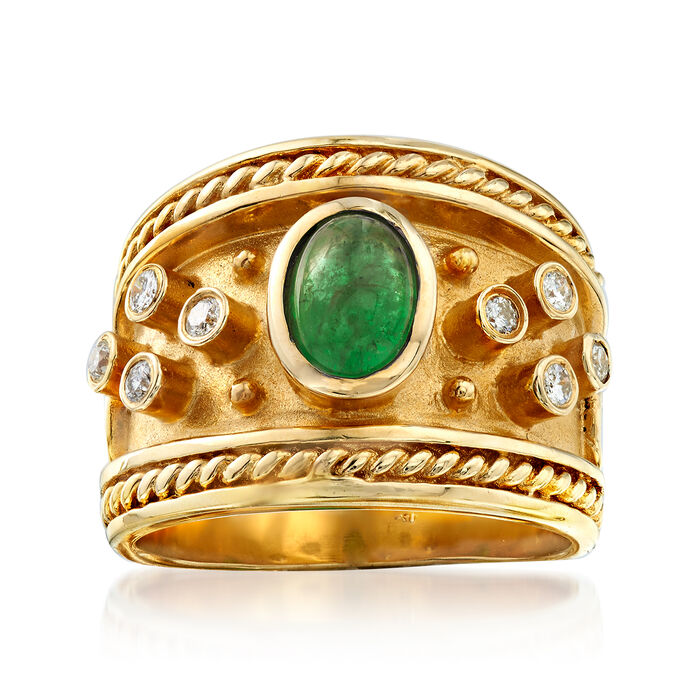 C. 1980 Vintage 1.00 Carat Emerald and .20 ct. t.w. Diamond Ring in 14kt Yellow Gold. Size 5.5, , default