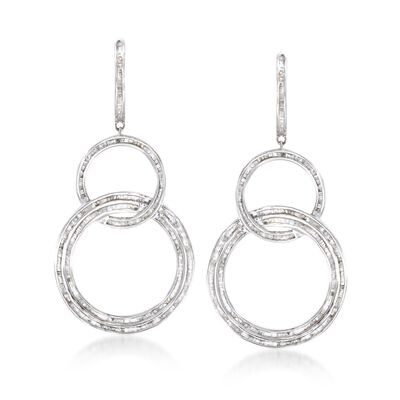 2.00 ct. t.w. Baguette Diamond Triple Circle Drop Earrings in Sterling Silver, , default