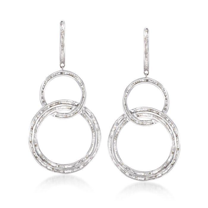 2.00 ct. t.w. Baguette Diamond Triple Circle Drop Earrings in Sterling Silver