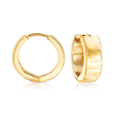 Italian 18kt Yellow Gold Huggie Hoop Earrings, , default
