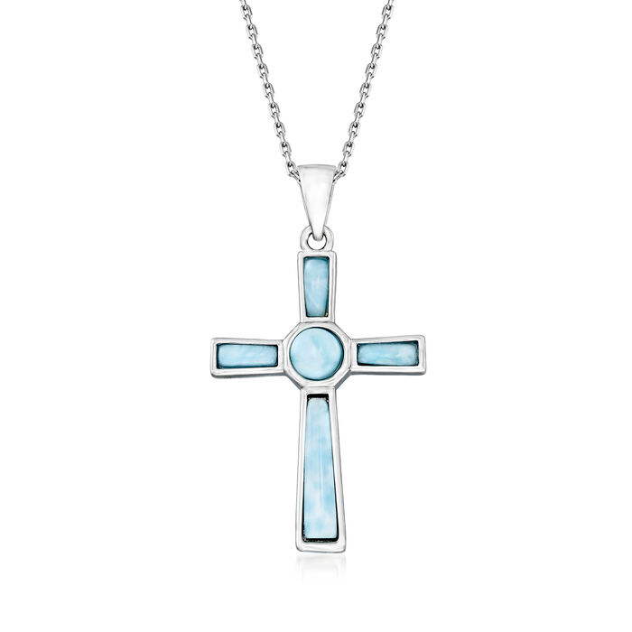 Larimar Cross Pendant Necklace in Sterling Silver. 18""