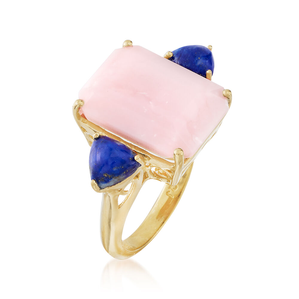 Pink Opal and Lapis Ring in 18kt Yellow Gold Over Sterling | Ross Simons