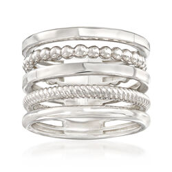 Italian Sterling Silver Multi-Band Stacked Ring, , default