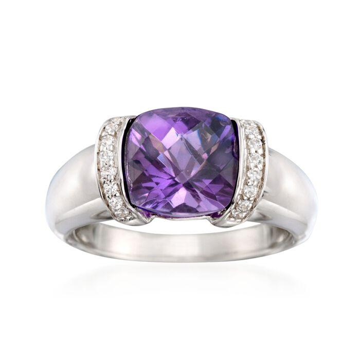 2.80 Carat Amethyst and .10 ct. t.w. CZ Ring in Sterling Silver, , default