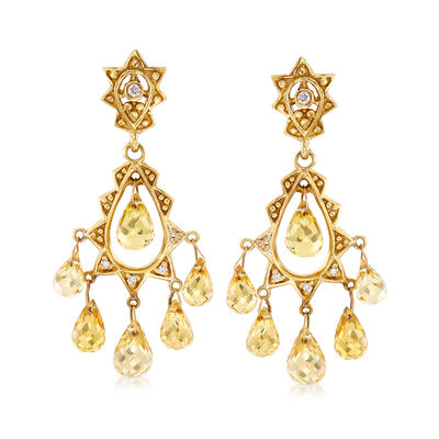 C. 1990 Vintage 6.40 ct. t.w. Citrine and .12 ct. t.w. Diamond Chandelier Earrings in 18kt Yellow Gold, , default
