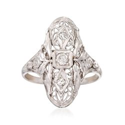C. 1990 Vintage .15 ct. t.w. Diamond Floral Dinner Ring in 18kt White Gold, , default