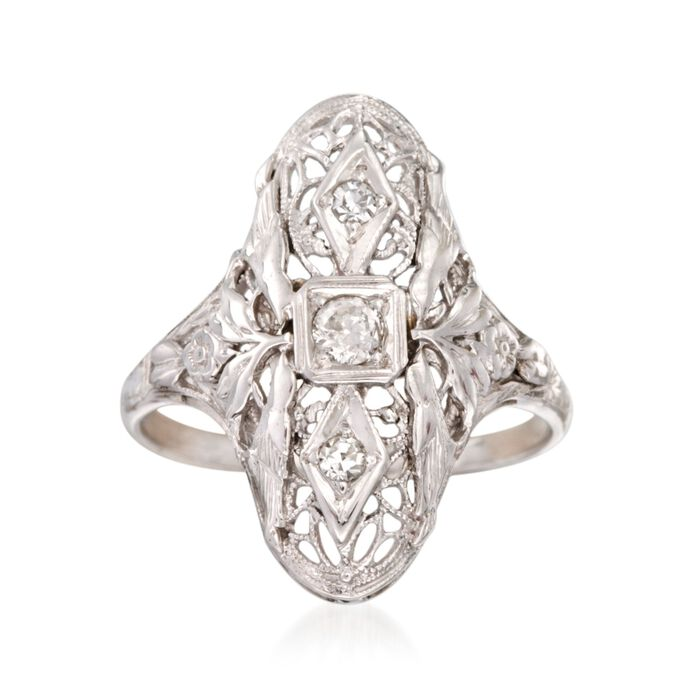 C. 1990 Vintage .15 ct. t.w. Diamond Floral Dinner Ring in 18kt White Gold. Size 7, , default