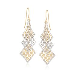 14kt Two-Tone Gold Layered Lace Drop Earrings, , default