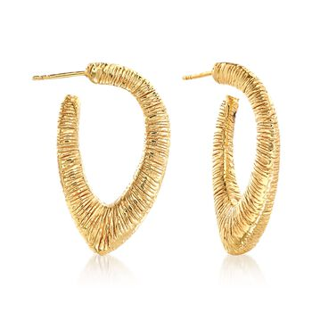 "Italian 14kt Yellow Gold Textured V-Shaped Hoop Earrings. 1 3/8"", , default"