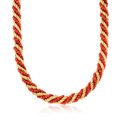 "C. 1980 Vintage Coral Bead Twist Necklace in 18kt Yellow Gold. 17"", , default"