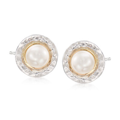 6mm Cultured Pearl Earrings in Sterling Silver and 14kt Yellow Gold