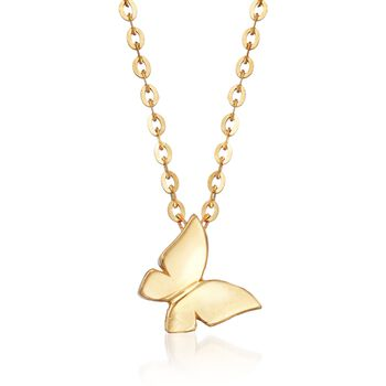 """18kt Yellow Gold Butterfly Pendant Necklace. 17.75"""", , default"""
