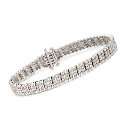 1.20 ct. t.w. Diamond Multi-Row Tennis Bracelet in Sterling Silver, , default