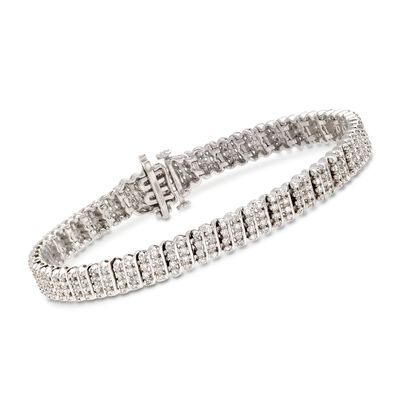 1.20 ct. t.w. Diamond Multi-Row Bracelet in Sterling Silver, , default