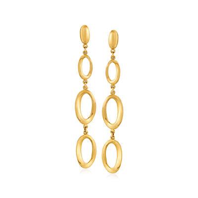 Italian 14kt Yellow Gold Oval-Shape Drop Earrings, , default