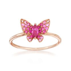 .20 ct. t.w. Pink Sapphire and .10 ct. t.w. Ruby Butterfly in 14kt Rose Gold, , default