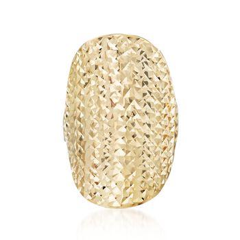 Diamond-Cut 14kt Yellow Gold Oval Ring, , default