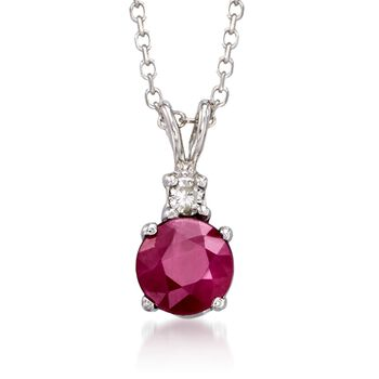 """.70 Carat Ruby Pendant Neckalce With Diamond Accent in 14kt White Gold. 16"""", , default"""