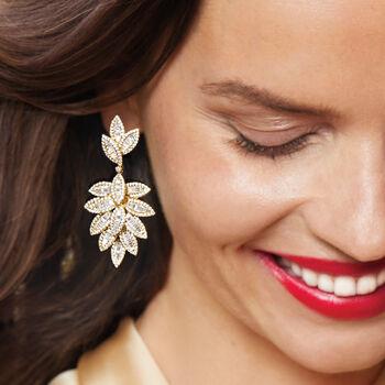 6.87 ct. t.w. Diamond Multi-Leaf Drop Earrings in 18kt Yellow Gold