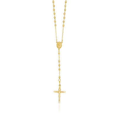 14kt Yellow Gold 3mm Beaded Rosary Necklace, , default