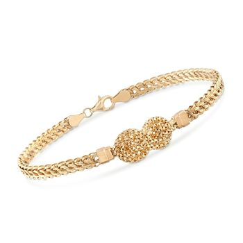 "14kt Yellow Gold Infinity Knot Bracelet. 8"", , default"