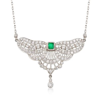 C. 1980 Vintage 2.75 ct. t.w. Diamond and .35 Carat Emerald Petite Bib Necklace in Platinum