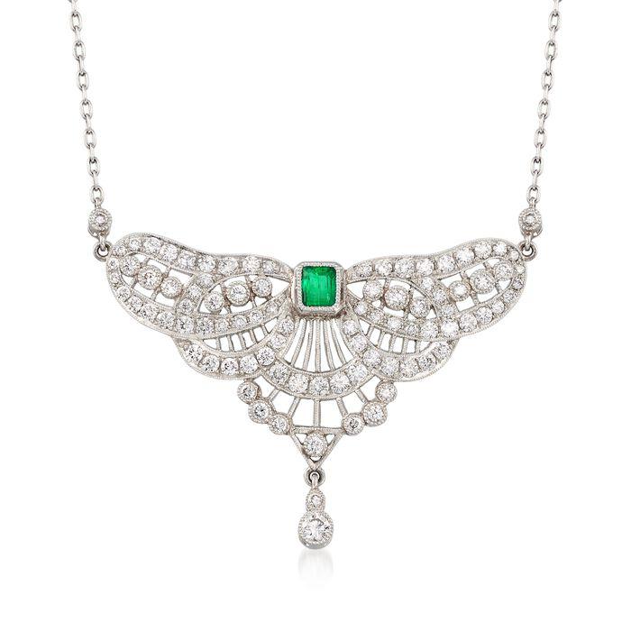 C. 1980 Vintage 2.75 ct. t.w. Diamond and .35 Carat Emerald Petite Bib Necklace in Platinum