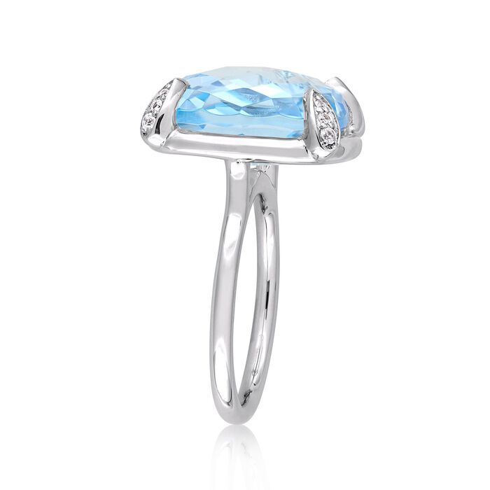 18.00 Carat Sky Blue Topaz and .13 ct. t.w. White Sapphire Ring in 14kt White Gold
