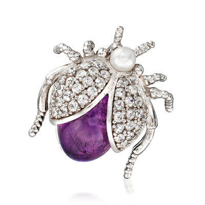 Italian 3.5-4mm Cultured Pearl, 3.00 Carat Amethyst and .75 ct. t.w. CZ Fly Pin in Sterling Silver, , default